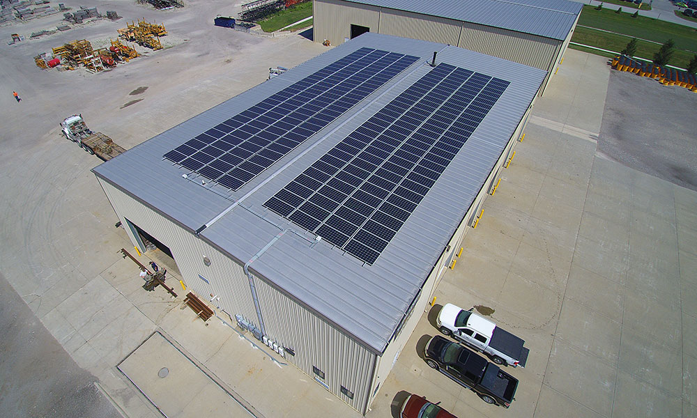 Roof mounted solar panels at Cramer & Associates, Grimes, IA
