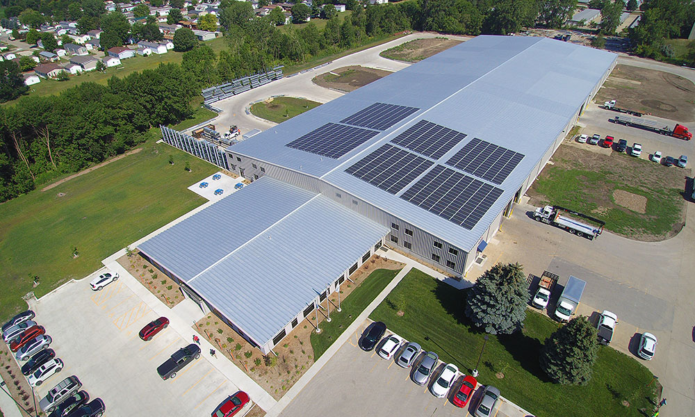 Roof mount solar panels at Kinzler Construction Services, Ankeny, Iowa