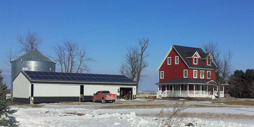 Solar panels mounted on the roof of an outbuilding in Washington, IA