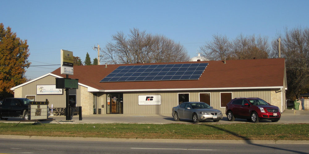 Roof mounted solar panels on Farm Bureau Financial Services building in Humboldt, Iowa